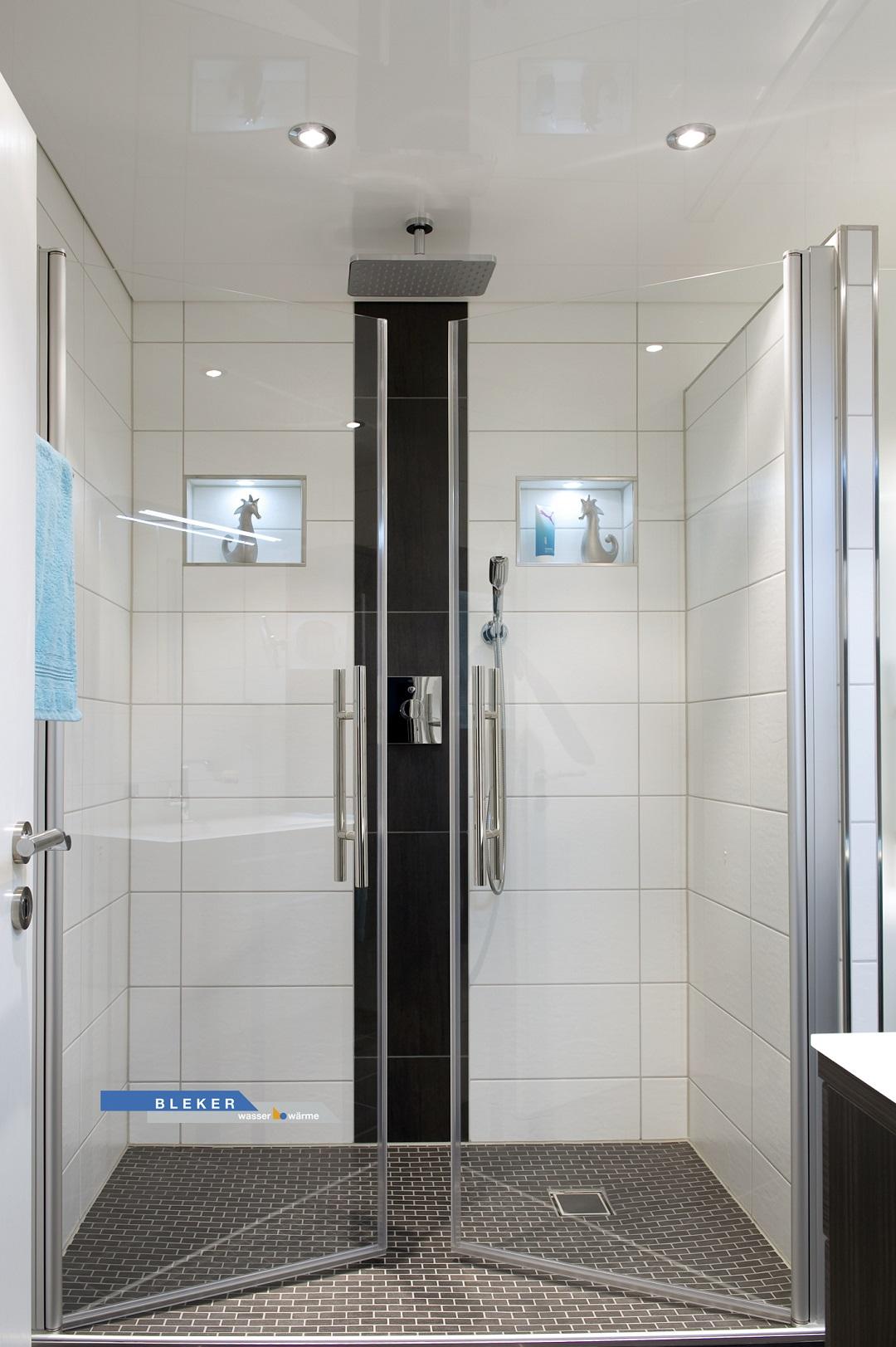 breite Dusche mit grossen Glastüren